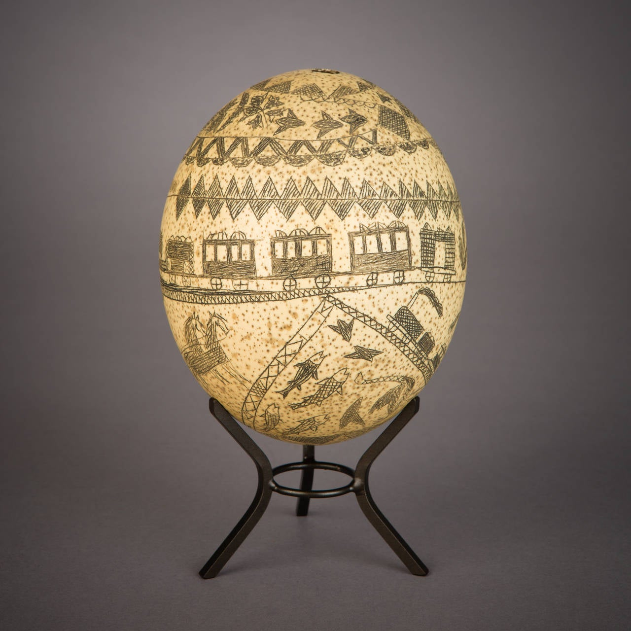 19th Century Carved Ostrich Egg, South Africa For Sale at 1stdibs