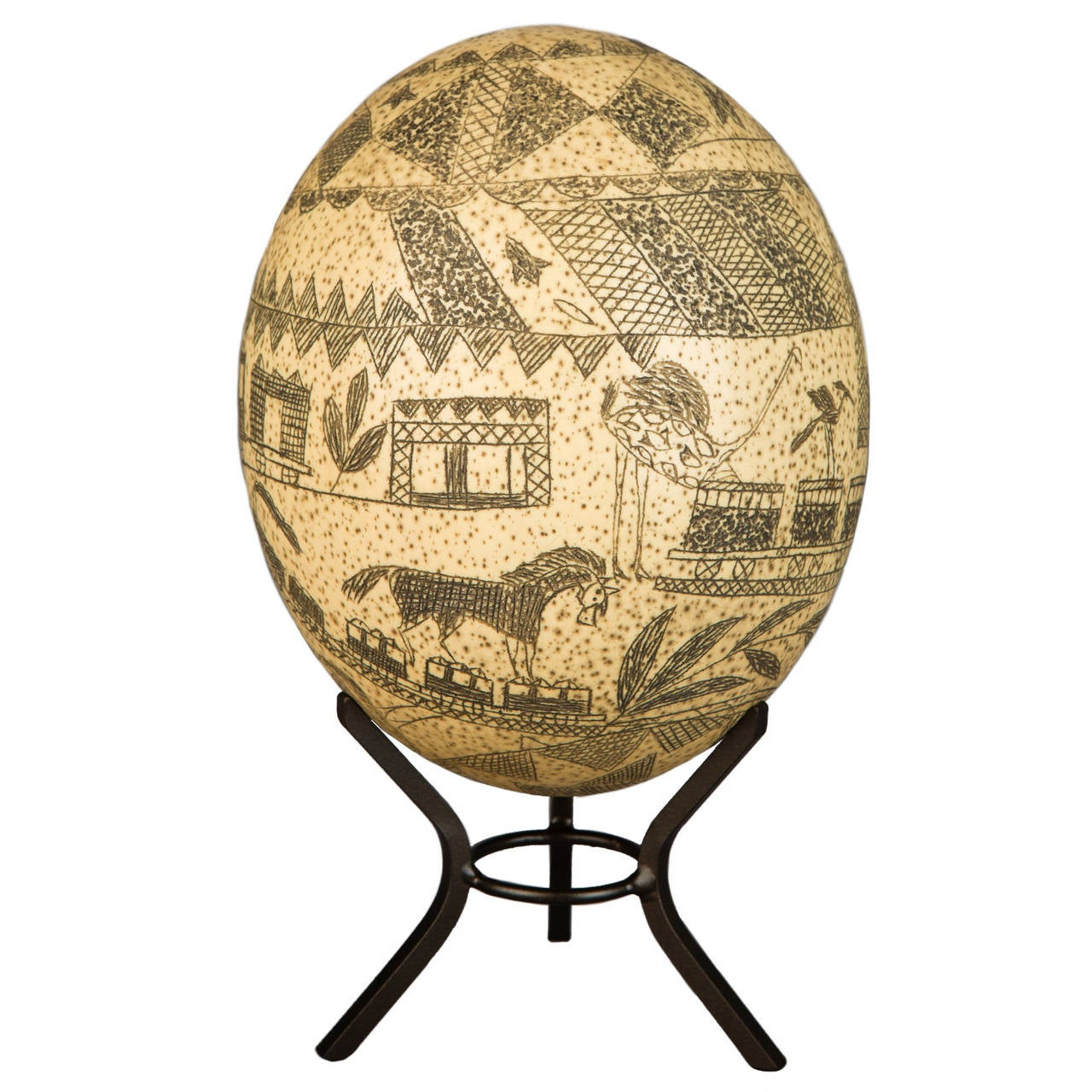 19th Century Carved Ostrich Egg, South Africa
