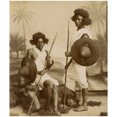 19th Century Original Photograph of Beja Warriors, Sudan