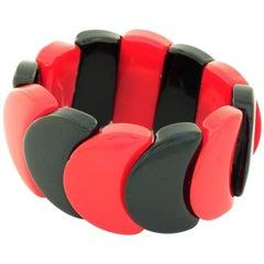 Art Deco Cherry Red and Black Slice Beaded Bakelite Bracelet