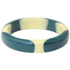1950s Turquoise Ivory Bakelite Bangle Bracelet