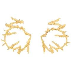 Loveness Lee Maze Natural Textured Gold Hoop Earrings