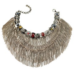 Iosselliani Gold Fringed Natural Stones Choker