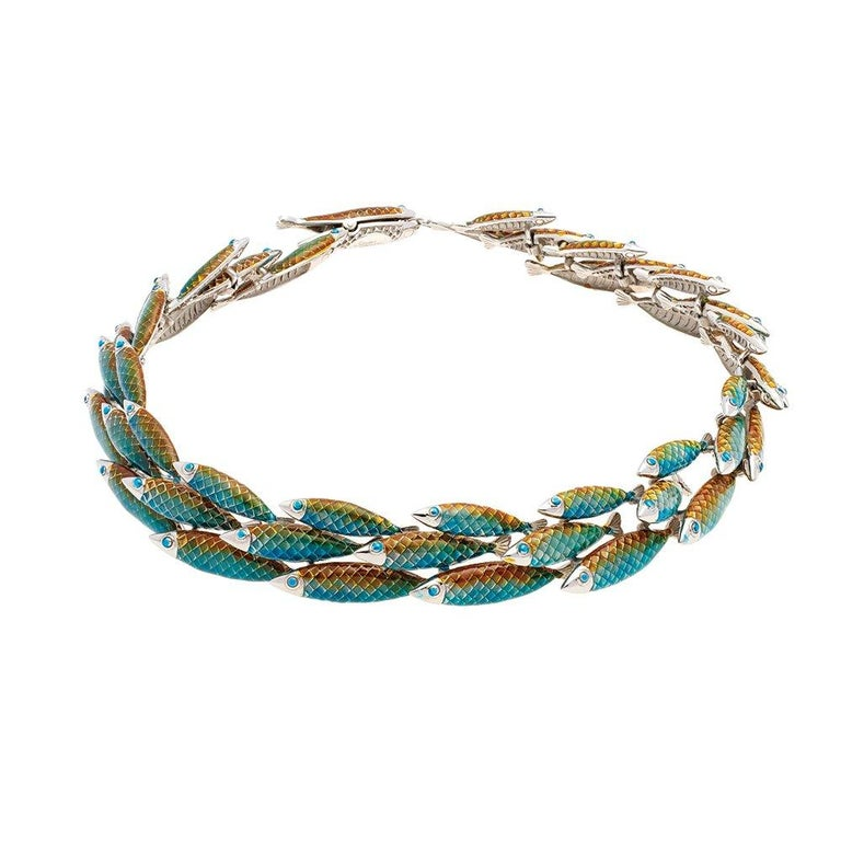 Simon Harrison Green Ombre Enamel Small Electra Fish Necklace For Sale