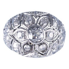 French White Gold Diamond Flower Bombe Ring, circa 1950