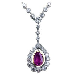 Certified 2.27ct Natural Untreated Burma Pink Sapphire Diamond Art Deco Pendant