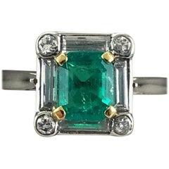 Platinum Art Deco Emerald and Diamond Ring, circa 1920