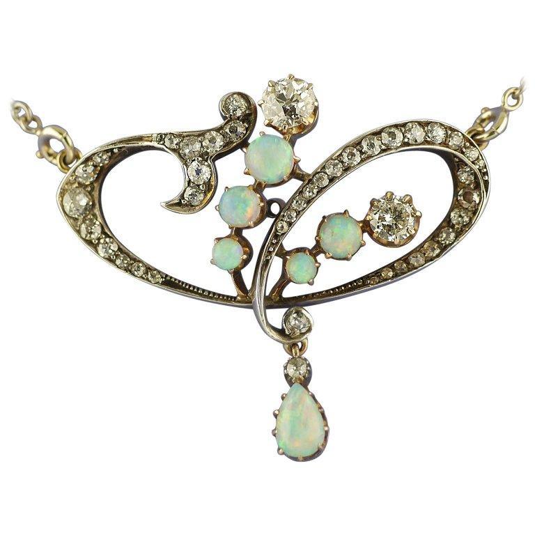 Art Nouveau Diamond Opal Pendant/Brooch, circa 1900