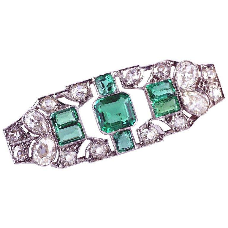1.70 Carat Certified Emerald Diamond Platinum Brooch, circa 1930