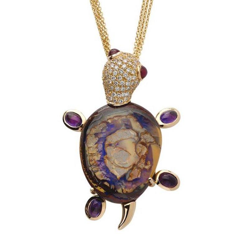 Monseo Opal, Amethyst and Ruby Yellow Turtle Yellow Gold Brooch In New Condition For Sale In Porto, PT
