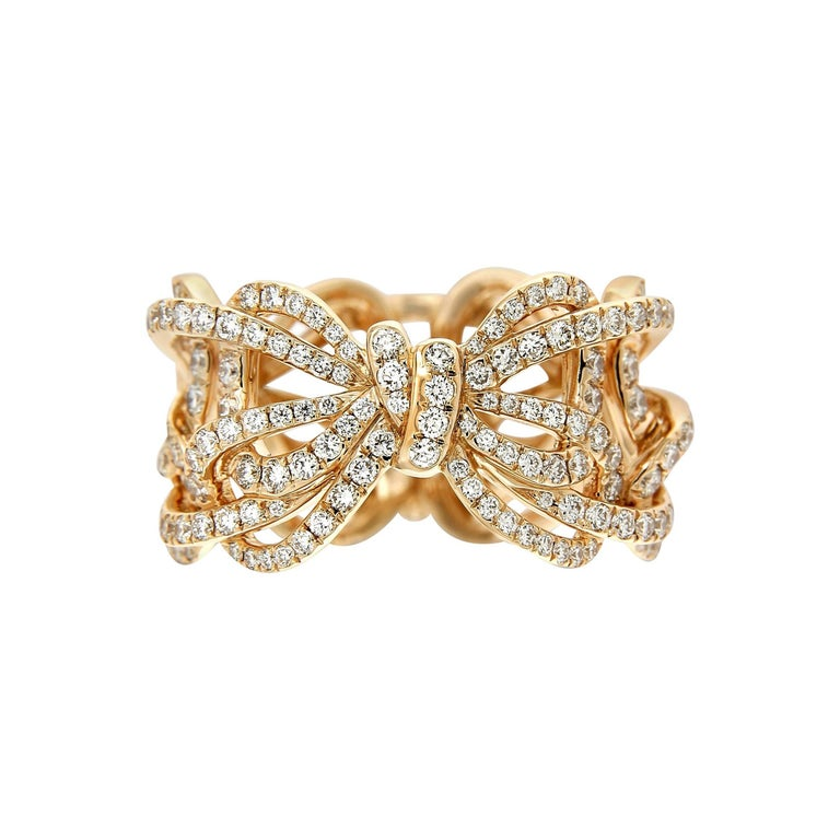 Rose Gold and Diamonds Bow Band Ring