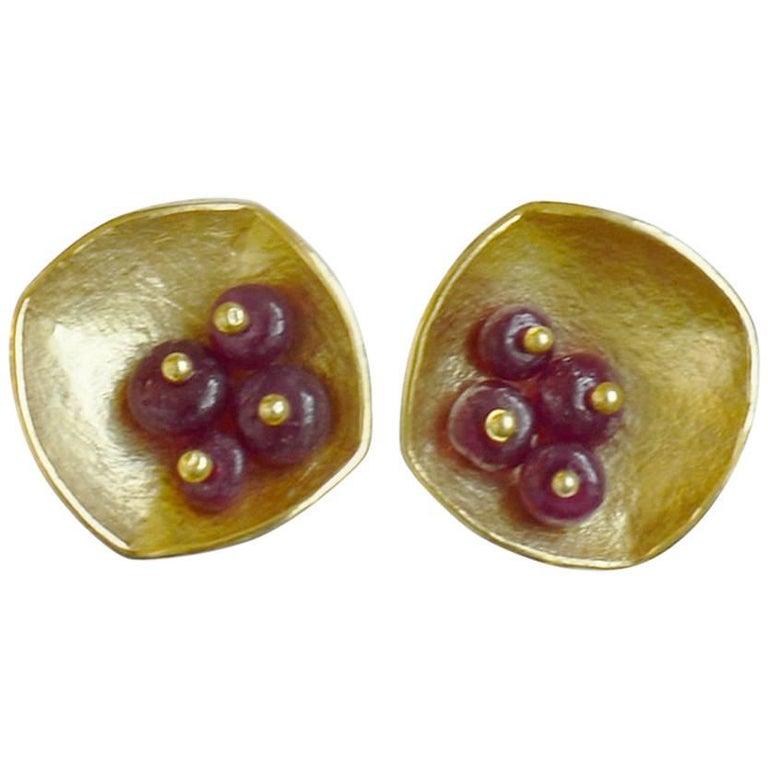 Kayo Saito Ruby Yellow Gold Square Stud Earrings