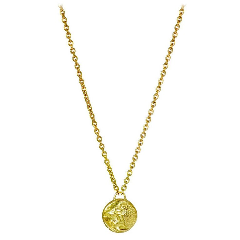 Nemean 18 Karat Yellow Gold Lion Necklace