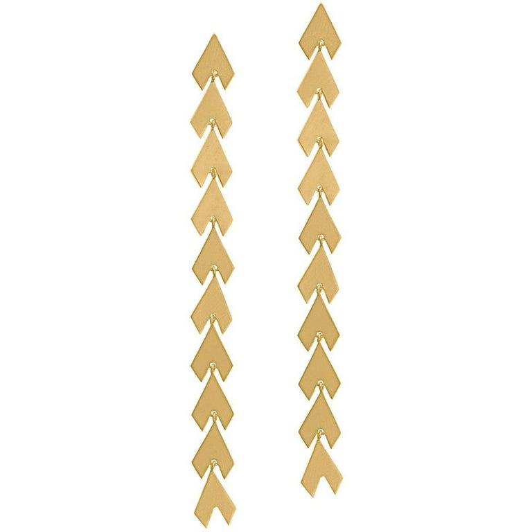 Timeless 18K Yellow Gold-Plated Sterling Silver Arrow Shaped Greek Drop Earrings