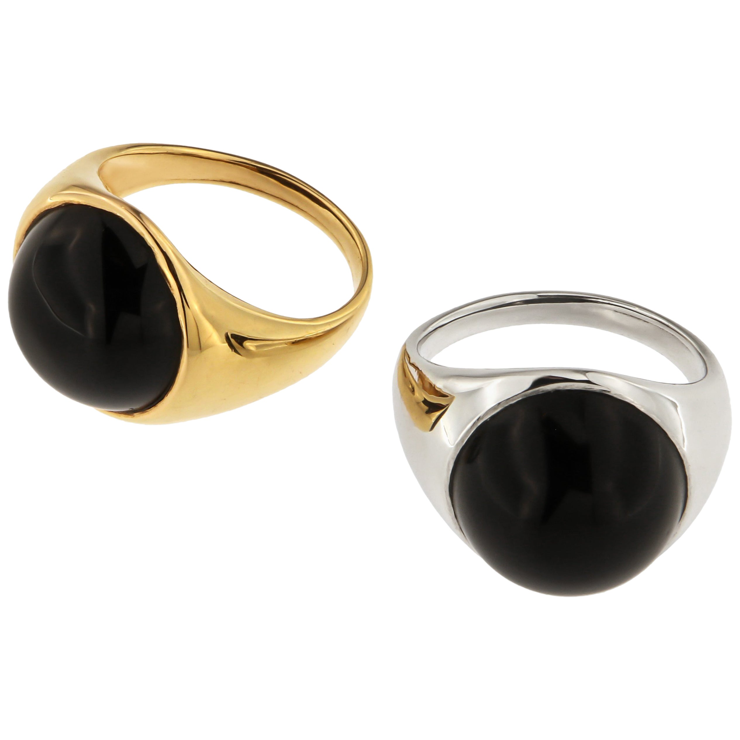 Onyx 18 Karat White Rose Gold Dome Ring Handcrafted in Italy