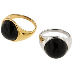 18 Karat White Rose Gold Onyx Dome Ring Handcrafted in Italy by Botta Gioielli