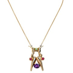 Tourmaline Peridot Amethyst 18 Karat Rose Gold Diamond Brooch Pendant Necklace