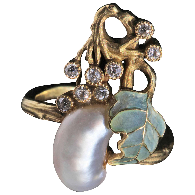 Art Nouveau Diamond Pearl Gold Cocktail Ring, circa 1900
