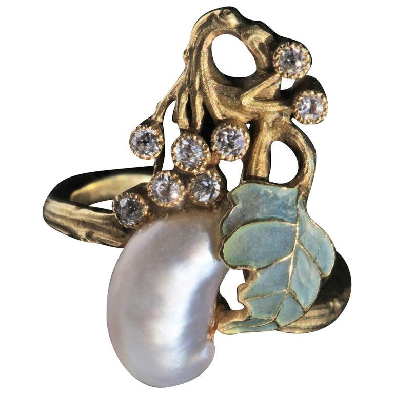 Art Nouveau Diamond Pearl Gold Cocktail Ring, circa 1900 For Sale