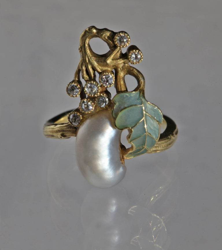 Art Nouveau Diamond Pearl Gold Cocktail Ring, circa 1900 In Good Condition For Sale In London, GB