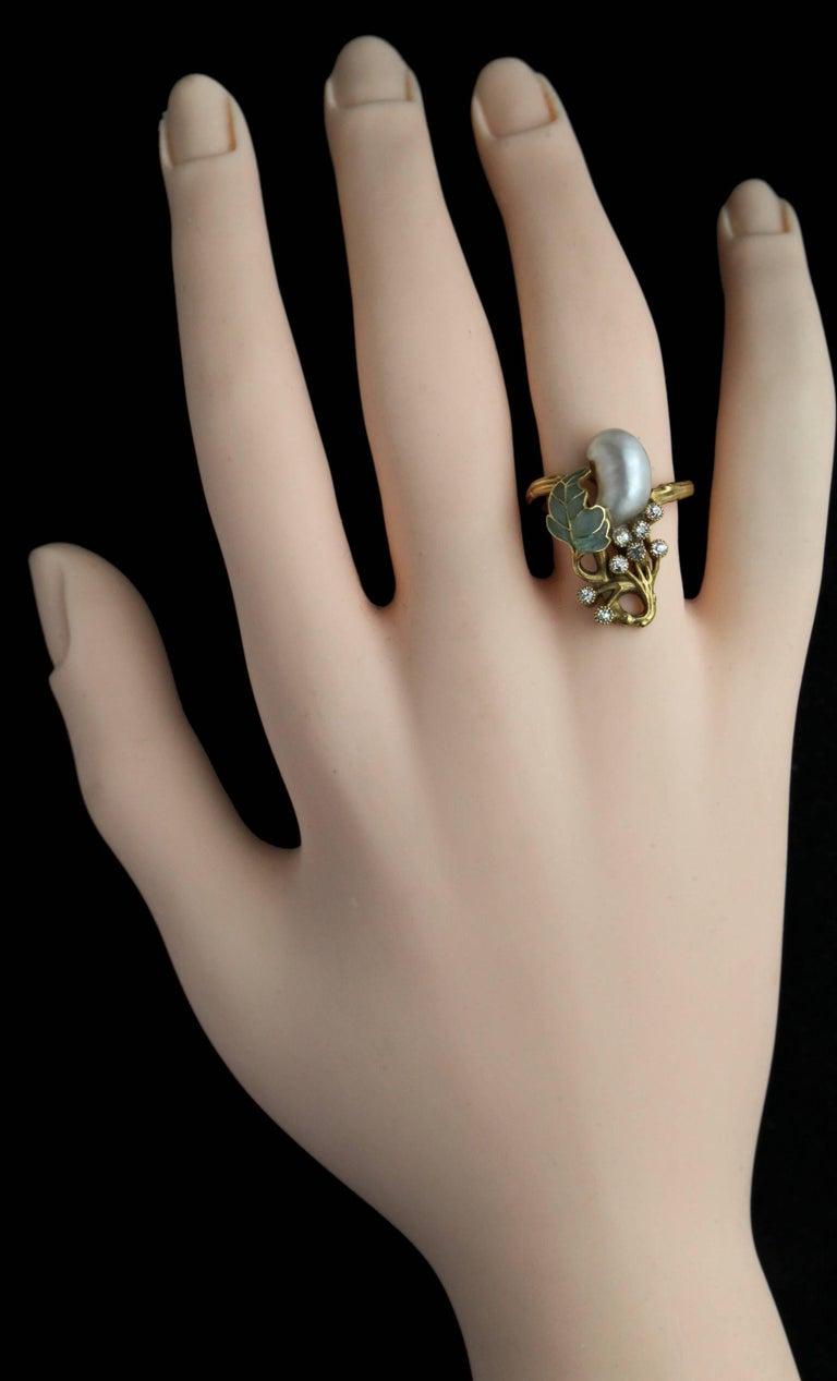 Art Nouveau Diamond Pearl Gold Cocktail Ring, circa 1900 For Sale 5