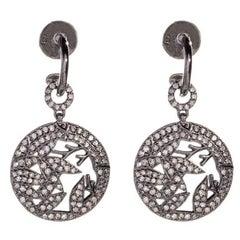 Opium Bamboo White Diamond Round Dangle Earrings