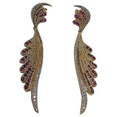 1970s Ertè Design Wings Diamond Ruby Gold Drop Earrings