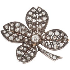 Victorian Lucky Shamrock Diamond Brooch, circa 1890