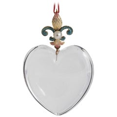Rock Crystal Pearl Gold Heart Pendant, circa 1910