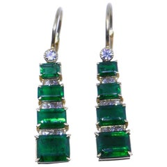 5.61 Carat Emerald Diamond 18 Karat Yellow Gold Dangle Drop Earrings