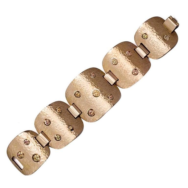 Colleen B. Rosenblat Zircon Hammered Rose Gold Bracelet For Sale