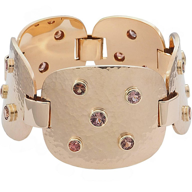 Contemporary Colleen B. Rosenblat Zircon Hammered Rose Gold Bracelet For Sale