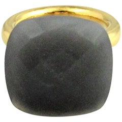 ' To a Dream Planetoid ' Grey Moonstone Yellow Gold Plt Ring
