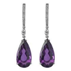 Monseo Pear Shape Amethyst Diamond Gold Drop Earrings