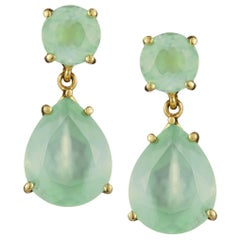 Prehnite Pear Cut Faceted Drop 18 Karat Gold Aqua Green Earrings