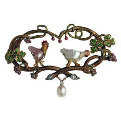 Wilhelm Lucas Von Cranach Cockerel Hen Diamond Garnet Pearl Ruby Gold Brooch