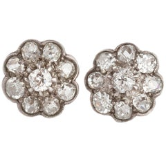 Diamond Flower Victorian Gold Stud Earrings