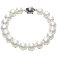 Australian South Sea Round Pearl Magnetic Clasp Bangle Bracelet