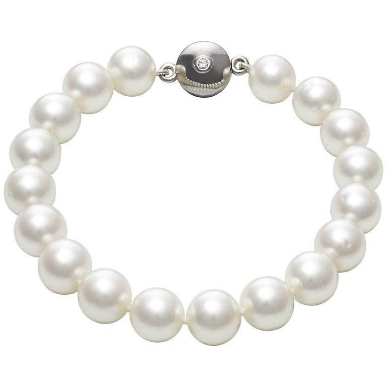 Australian South Sea Round Pearl Magnetic Clasp Bangle Bracelet