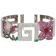 Greek Key White Gold Diamond Ruby Spinel Pink Sapphire Cuff Braclet