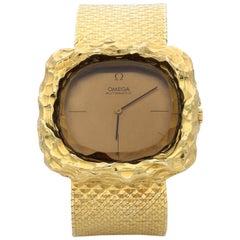 Omega Andrew Grima Ladies Yellow Gold Teak Automatic Wristwatch, circa 1970