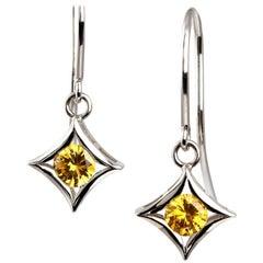 Kian Design 18 Carat White Gold Yellow Sapphire Earrings