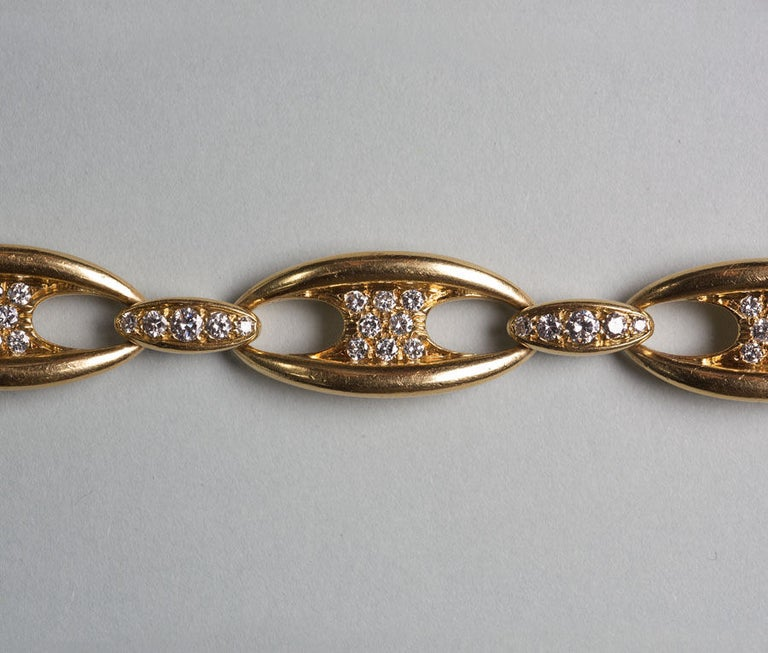 Women's Mauboussin Diamond Gold Chain Bangle Bracelet, circa 1965 For Sale