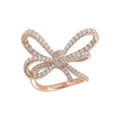 Vanleles Diamond 18 Karat Rose Gold Lyla's Bow Ring
