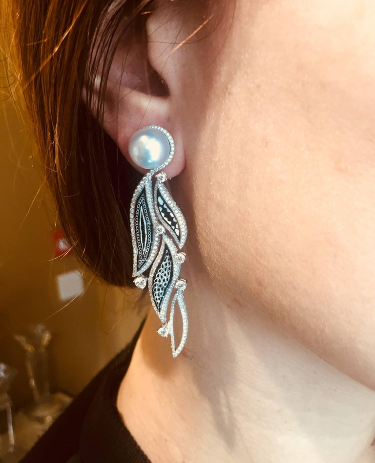 Brilliant Cut Stylish Earrings White Diamonds White Gold Pearls HandDecorated with Micromosaic For Sale