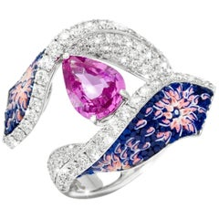Diamonds Pink Pear Sapphire Micromosaic Blue Cocktail Ring