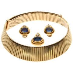 Bulgari Tubogas Necklace, Sapphire and Diamond Yellow Gold Demi-Parure, 1975