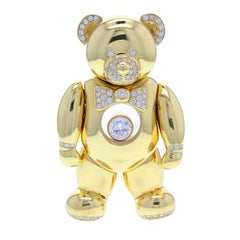 1990s Chopard Happy Diamond Gold Teddy Bear Pendant Necklace