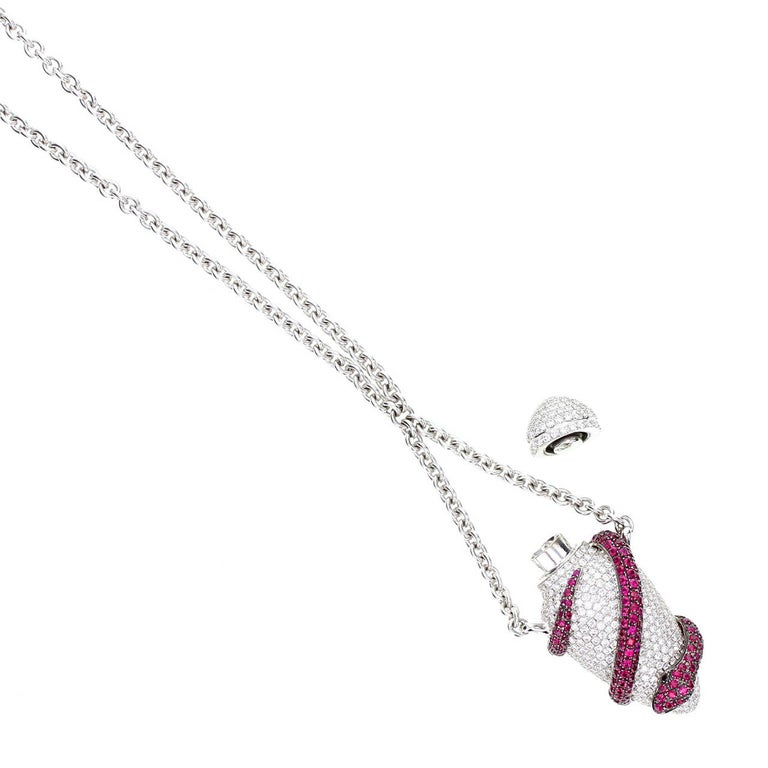 Contemporary Theo Fennell Ruby Diamond Gold Ampoule Snake Pendant Necklace For Sale