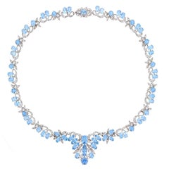 1950s Harrods London Aquamarine Diamond Gold Necklace